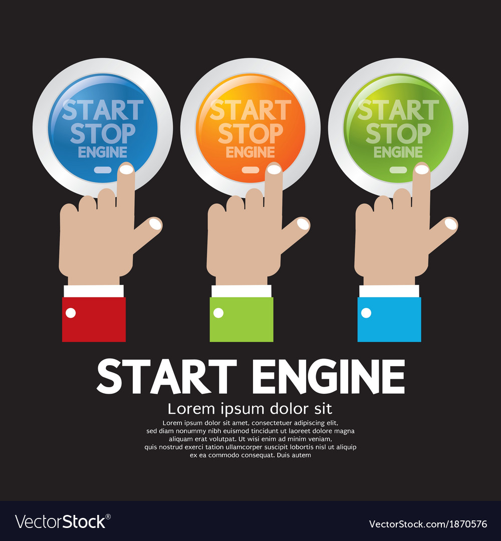 Hand push start-stop engine button set vector | Price: 1 Credit (USD $1)