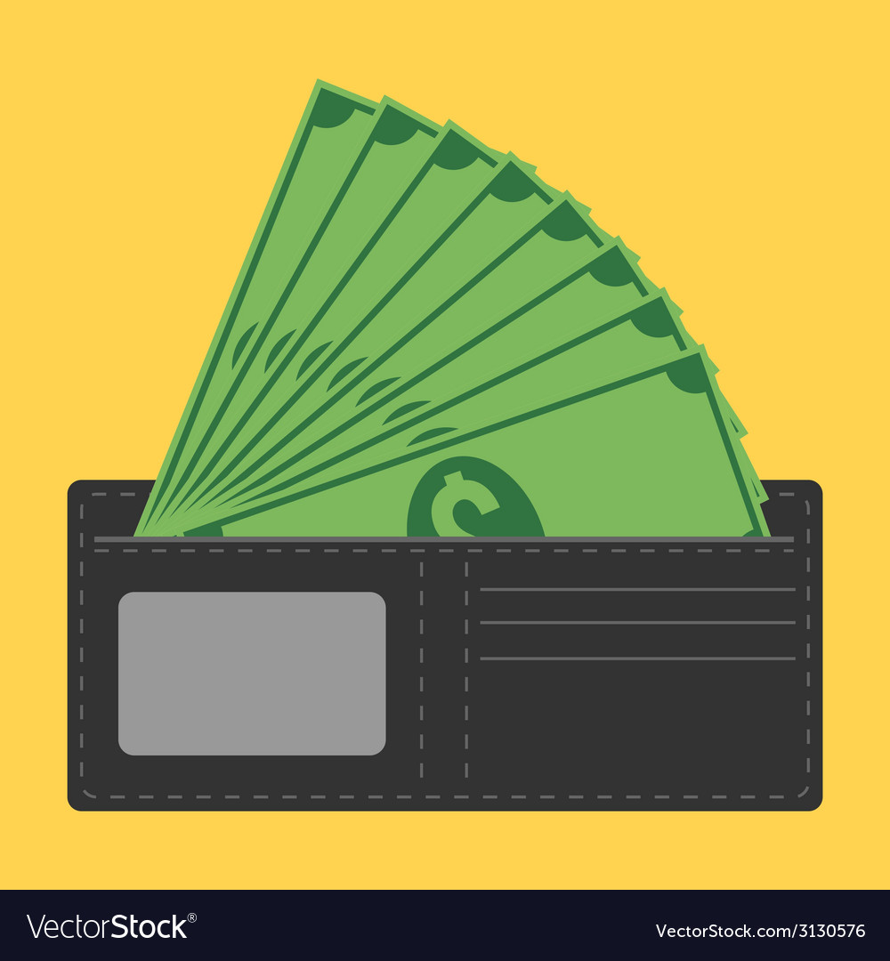 Money in wallet vector | Price: 1 Credit (USD $1)