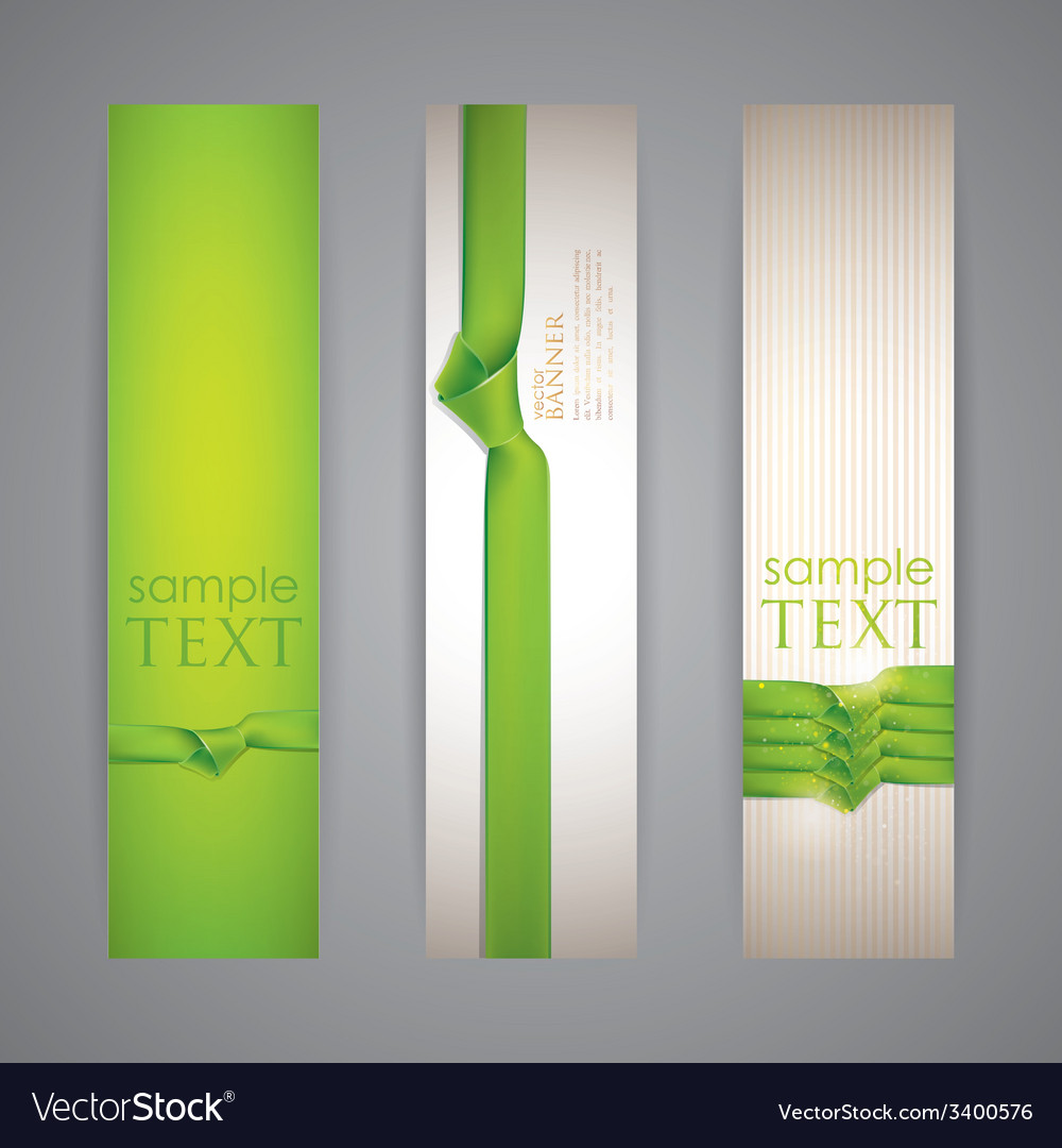 Set of banners with green ribbons vector | Price: 1 Credit (USD $1)