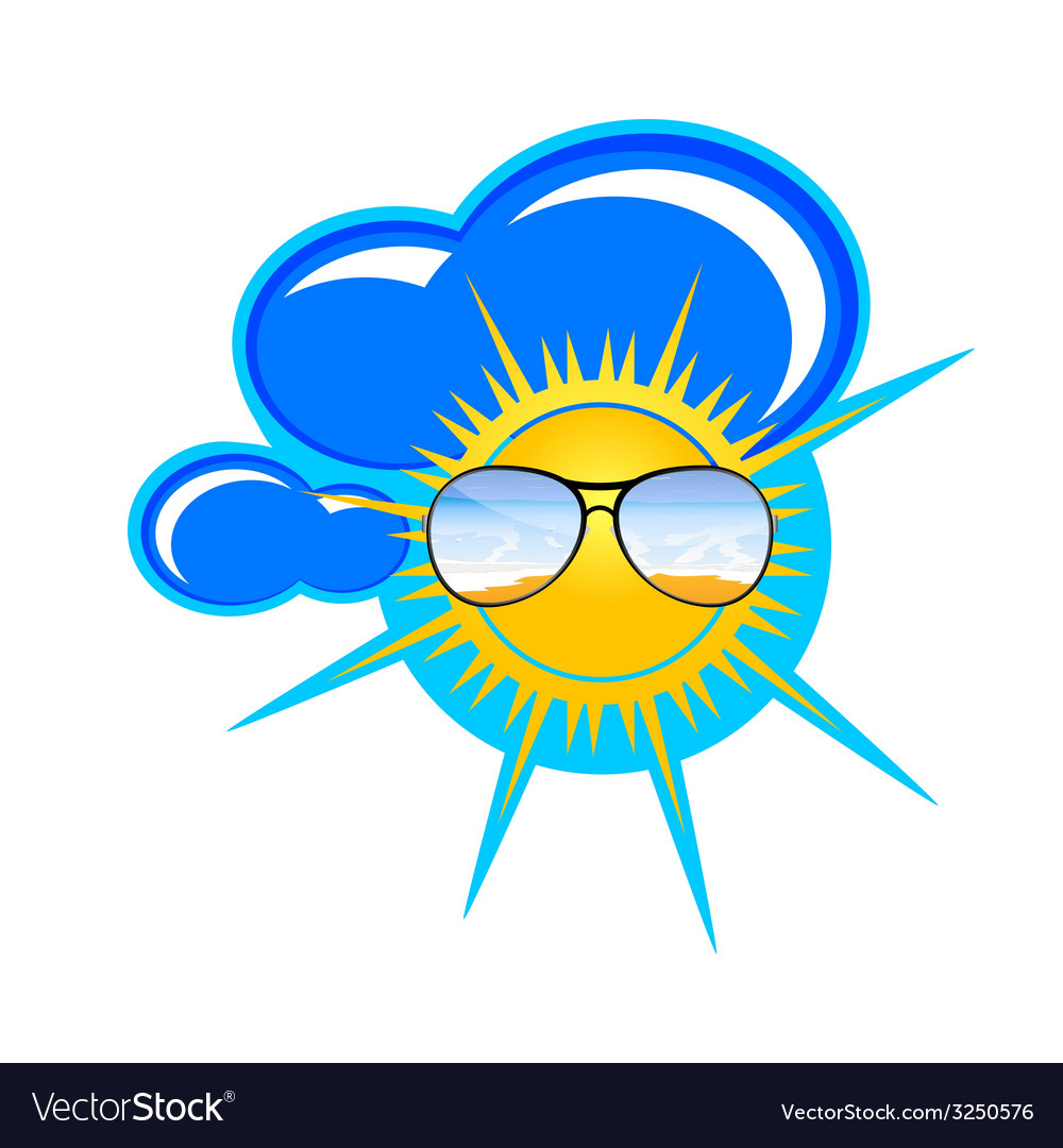 Sun and clouds art vector | Price: 1 Credit (USD $1)