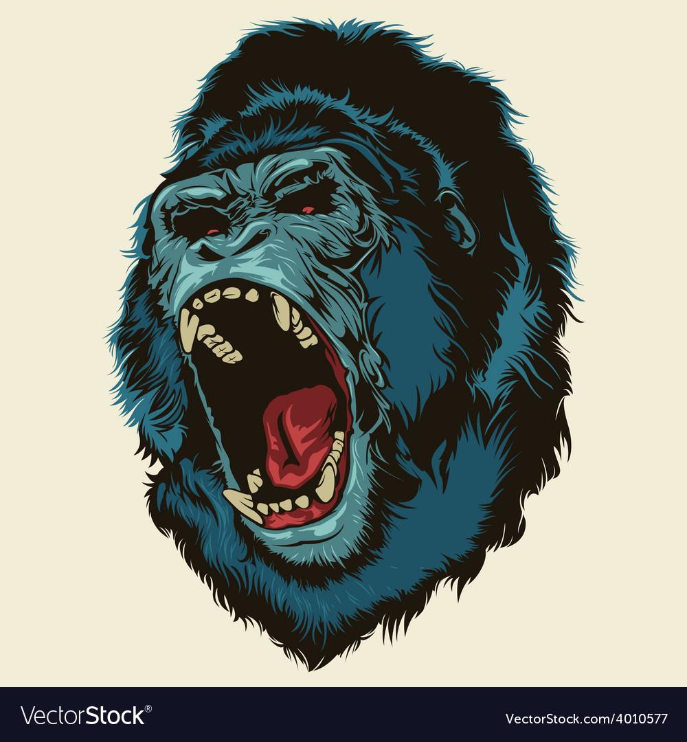 Angry gorilla head vector | Price: 3 Credit (USD $3)