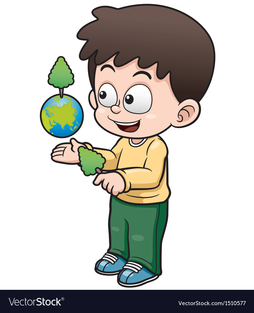 Boy holding the planet earth vector | Price: 1 Credit (USD $1)