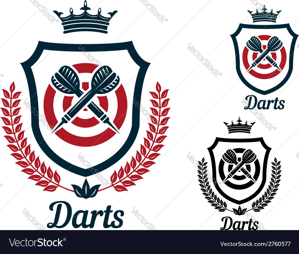 Darts emblems or signs set vector | Price: 1 Credit (USD $1)