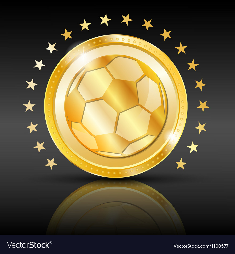 Gold football coin sport background vector | Price: 1 Credit (USD $1)