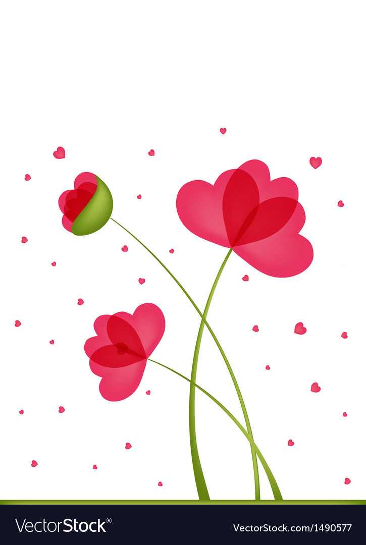 Greeting card bouquet of flowers in a heart-shaped vector | Price: 1 Credit (USD $1)