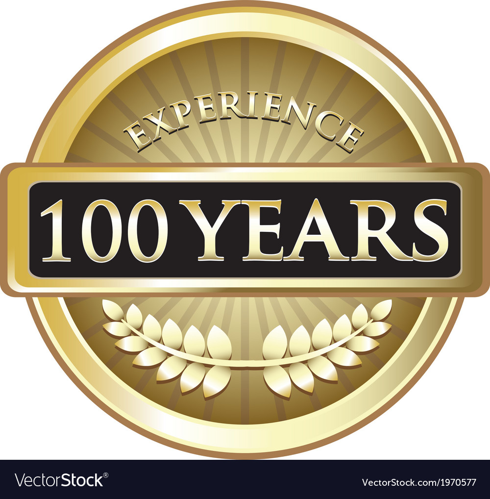 Hundred years experience gold vector | Price: 1 Credit (USD $1)