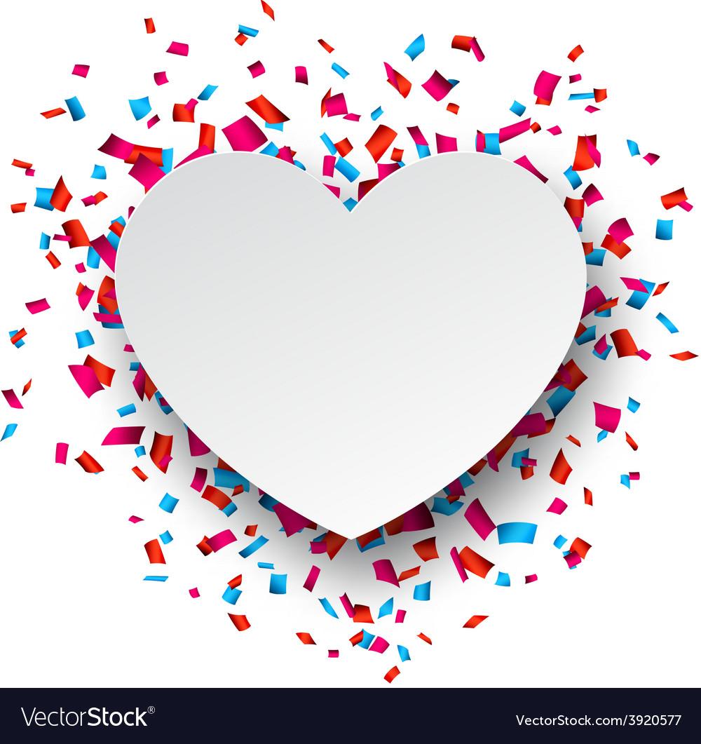 Paper heart love confetti sign vector   Price: 1 Credit (USD $1)