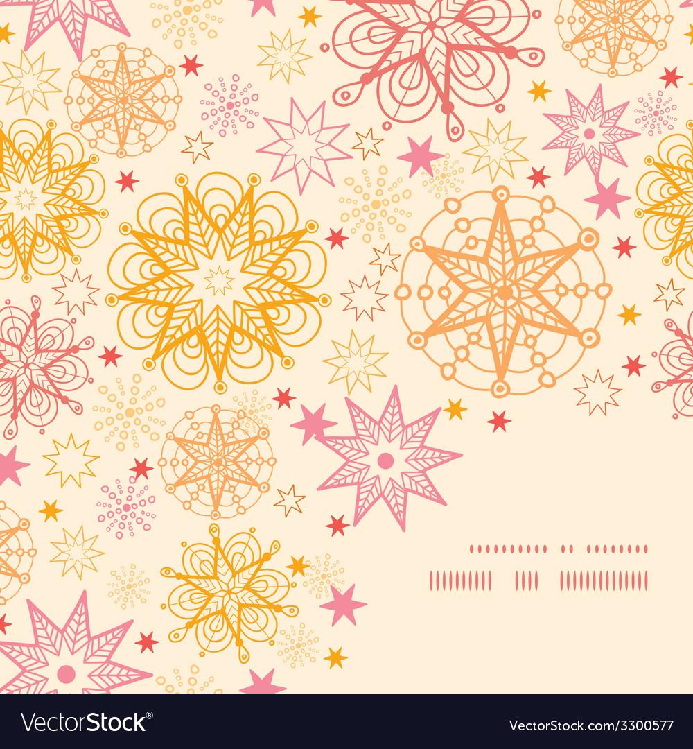 Warm stars frame corner pattern background vector | Price: 1 Credit (USD $1)