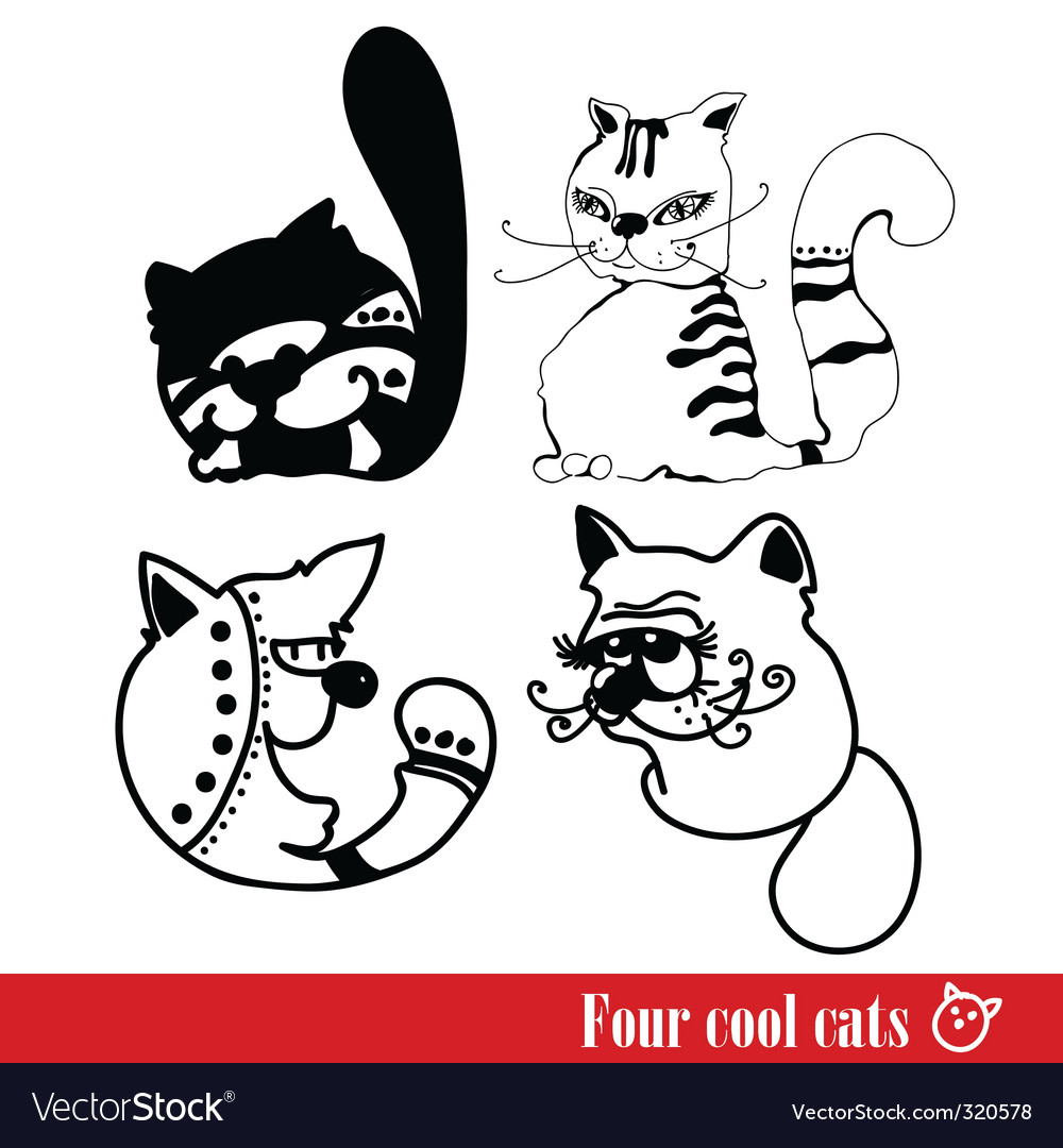 Band of four funky cats vector | Price: 1 Credit (USD $1)