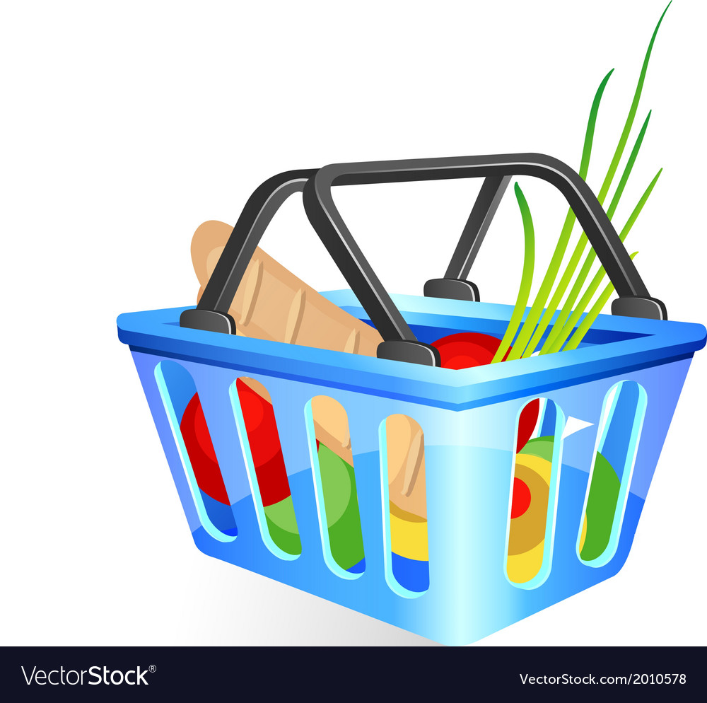 Basket with food vector | Price: 1 Credit (USD $1)
