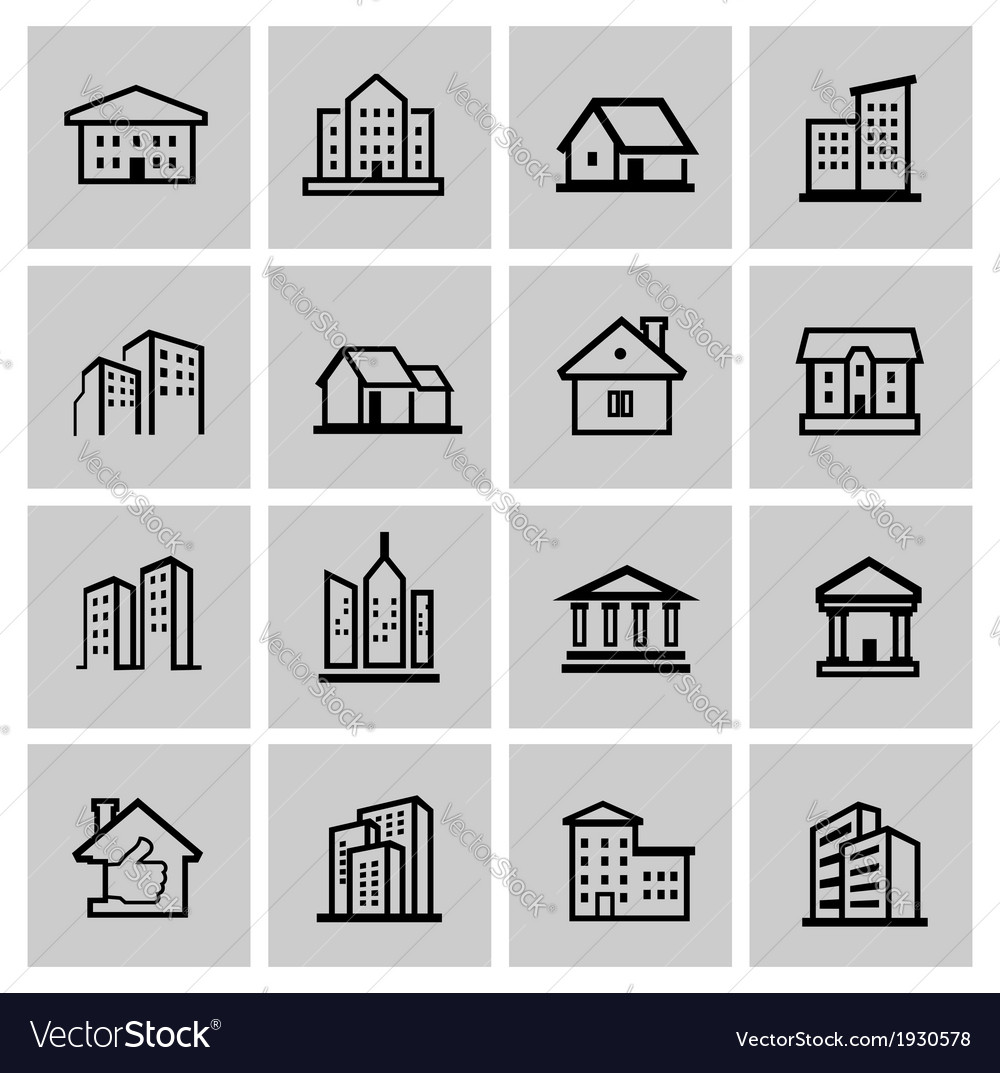 Black real estate set vector | Price: 1 Credit (USD $1)