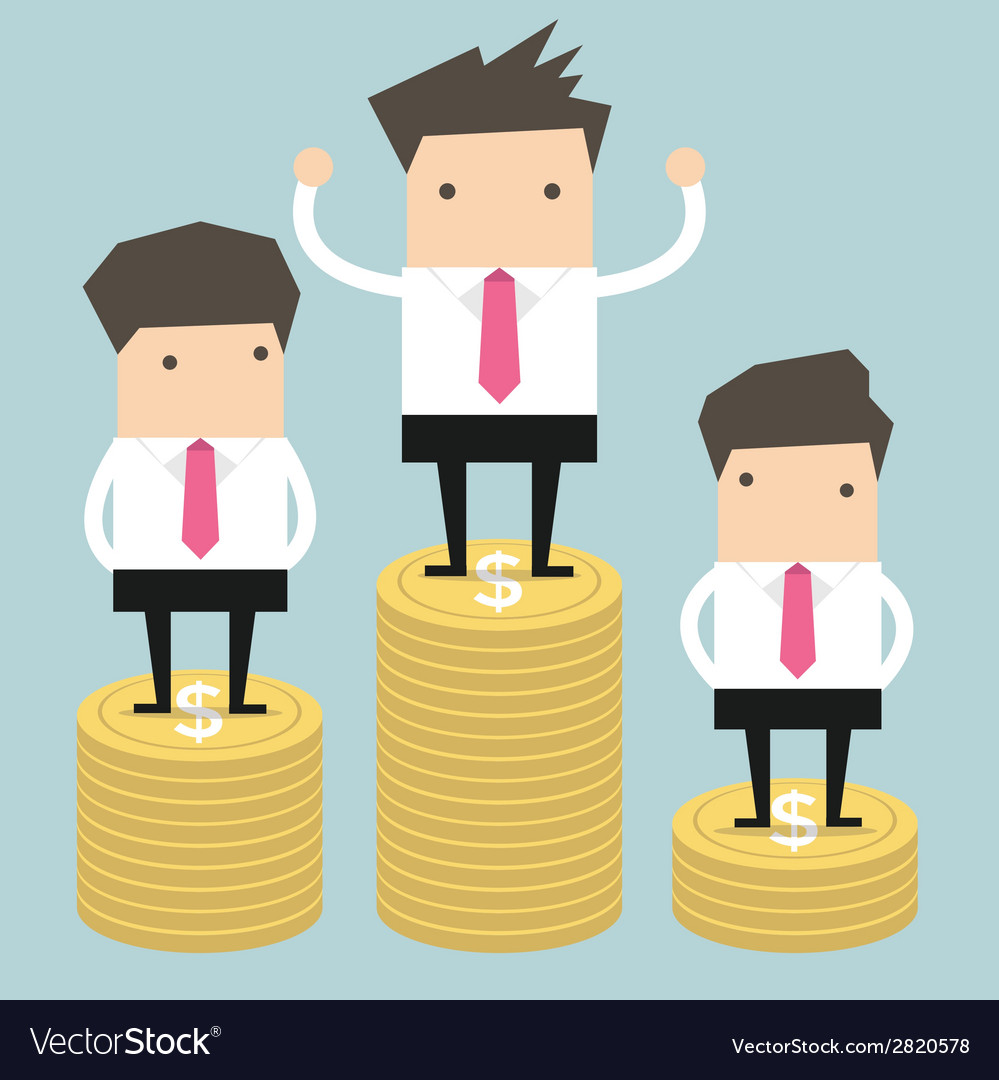 Businessman winner standing on gold coin vector | Price: 1 Credit (USD $1)
