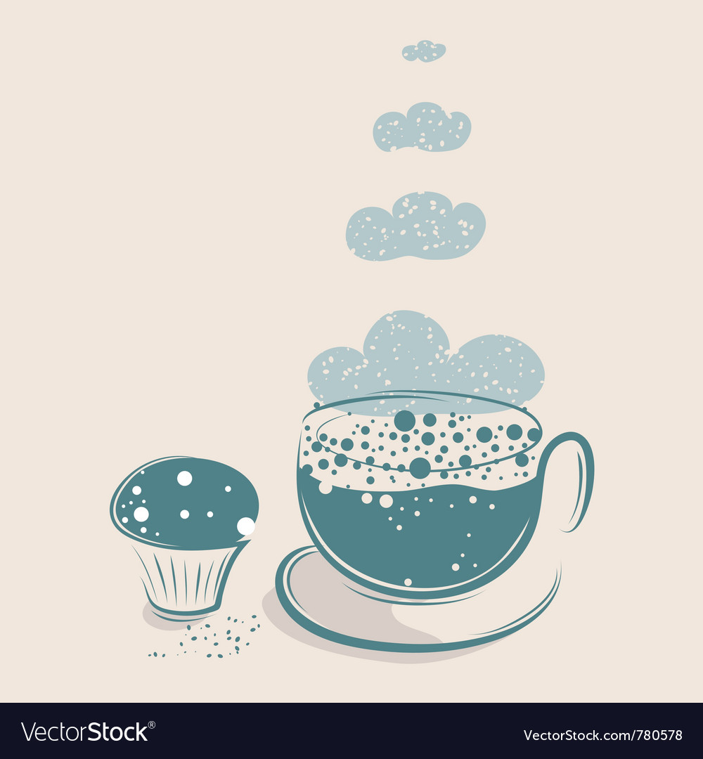 Cloudy coffee with muffin vector | Price: 1 Credit (USD $1)