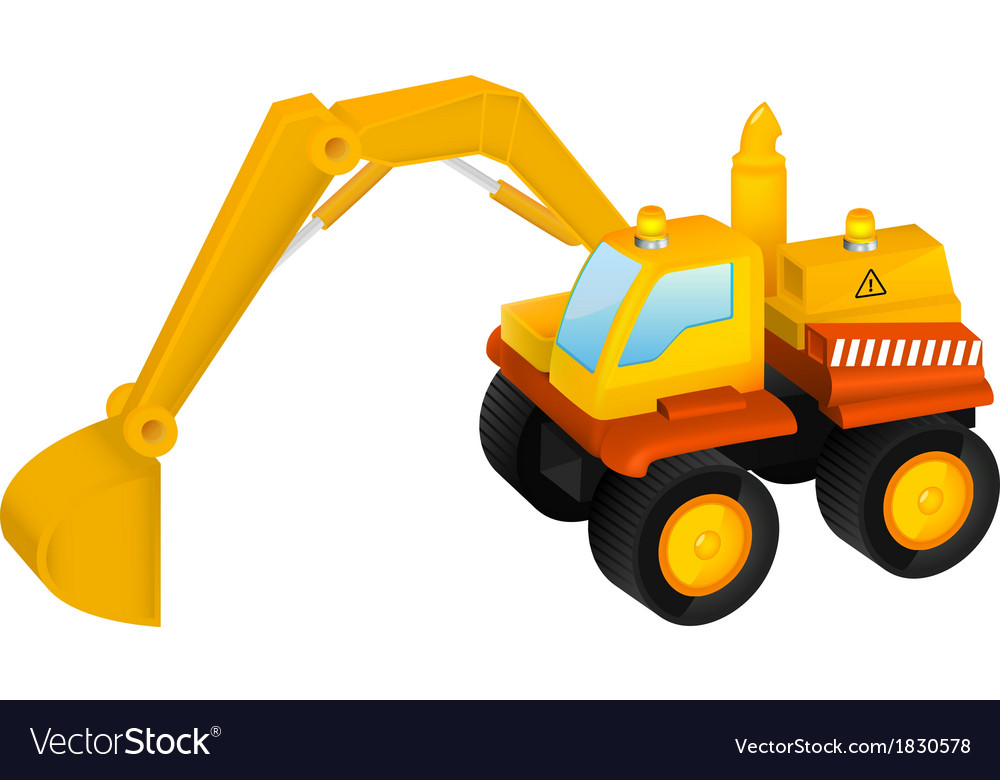 Excavator toy isolated on white vector | Price: 1 Credit (USD $1)
