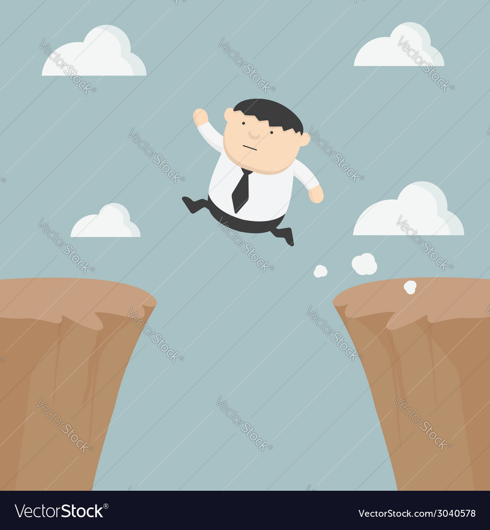 Fat businessman jumping over gap vector | Price: 1 Credit (USD $1)