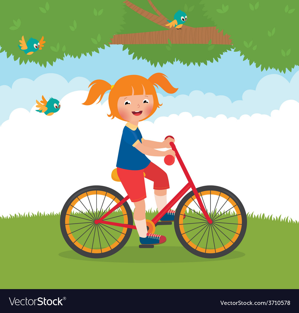 Joyful child rides a bike vector | Price: 1 Credit (USD $1)