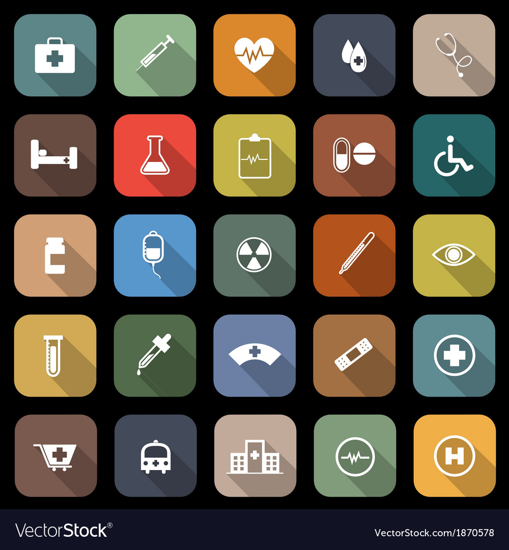 Medical flat icons with long shadow vector | Price: 1 Credit (USD $1)