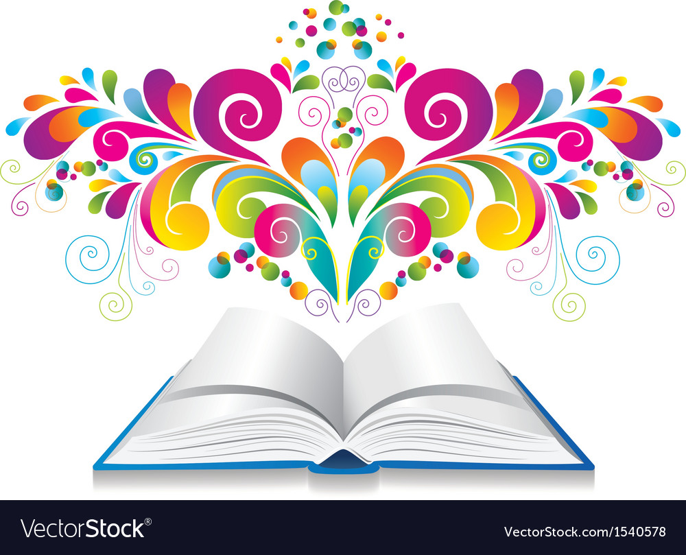 Open book with color splash and curl vector | Price: 1 Credit (USD $1)
