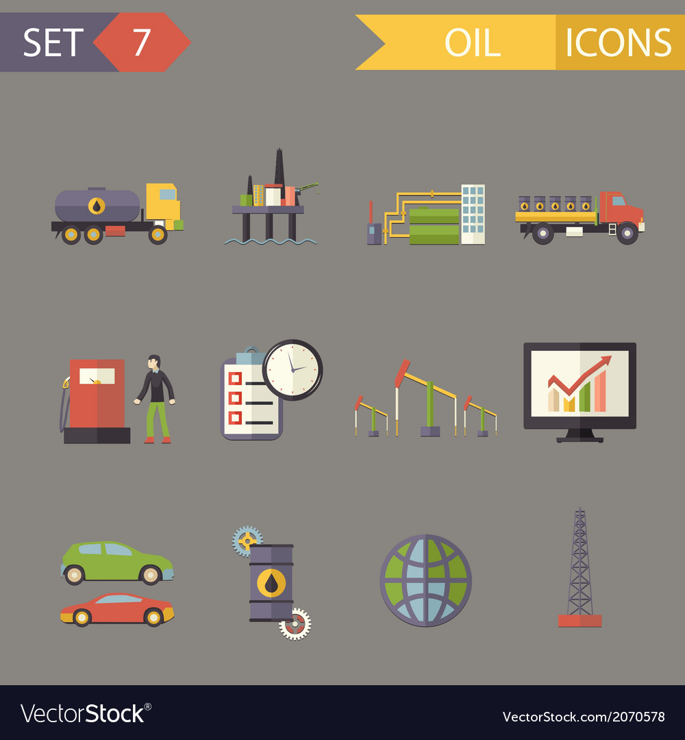 Retro flat oil icons and symbols set vector | Price: 1 Credit (USD $1)