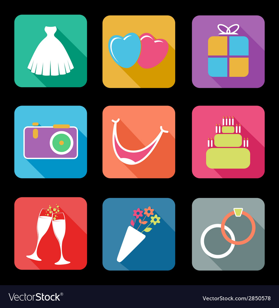 Wedding flat icons vector | Price: 1 Credit (USD $1)