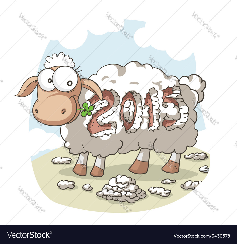 Year of the sheep 2015 cartoon vector | Price: 1 Credit (USD $1)