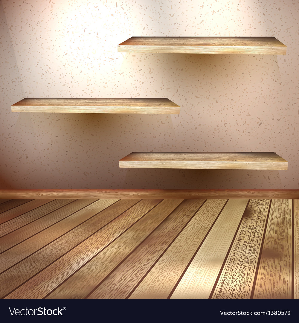 Empty wooden shelf background eps 10 vector | Price: 1 Credit (USD $1)