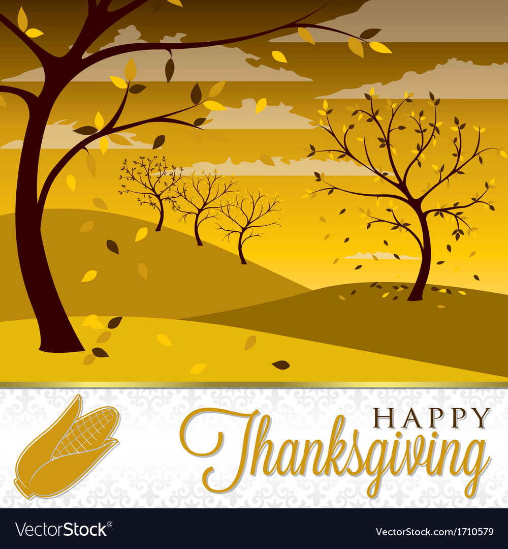 Field of trees thanksgiving card in format vector | Price: 1 Credit (USD $1)