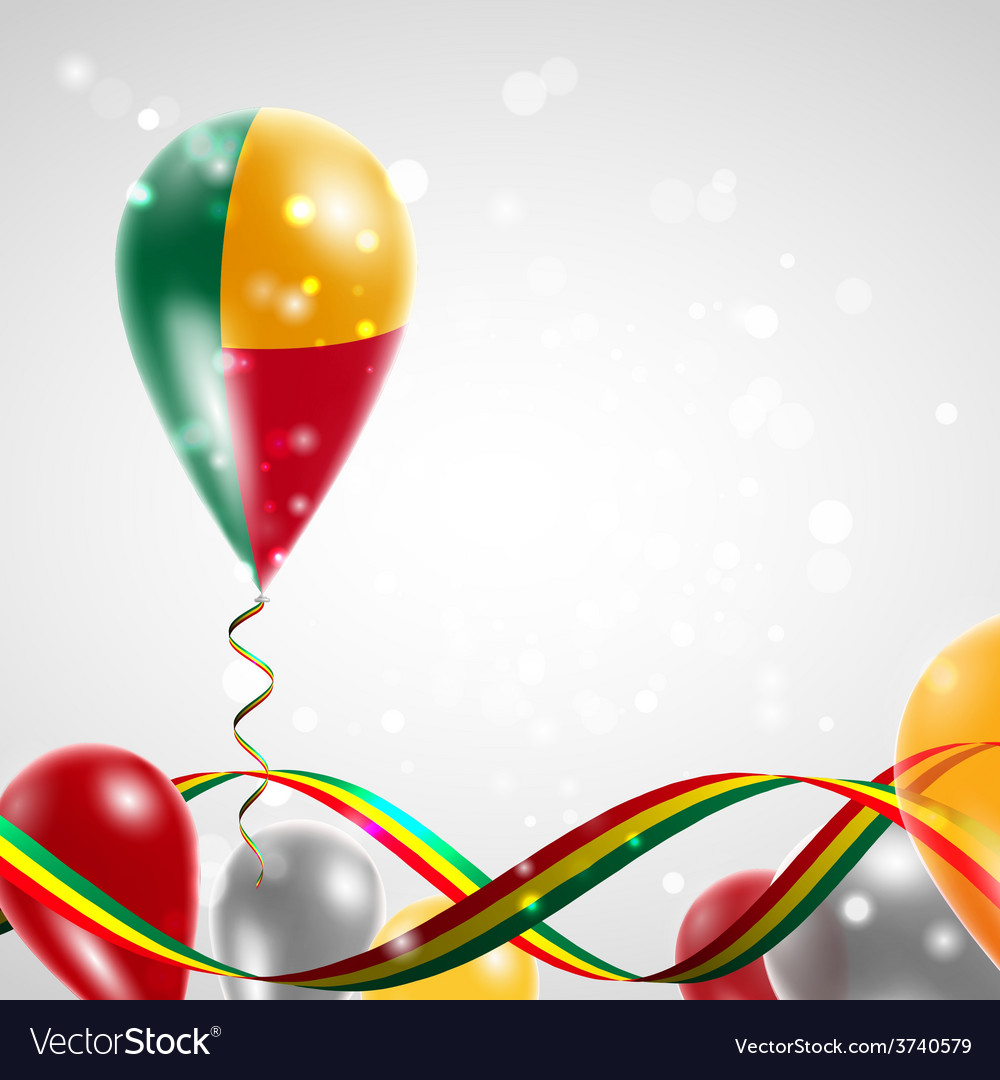 Flag of benin on balloon vector | Price: 1 Credit (USD $1)