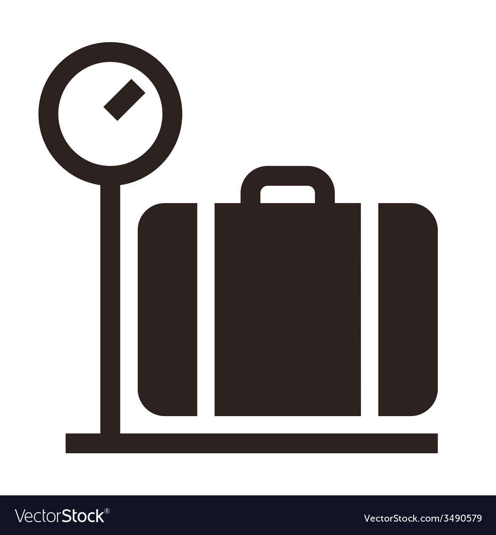 Luggage on weigh scales icon vector | Price: 1 Credit (USD $1)
