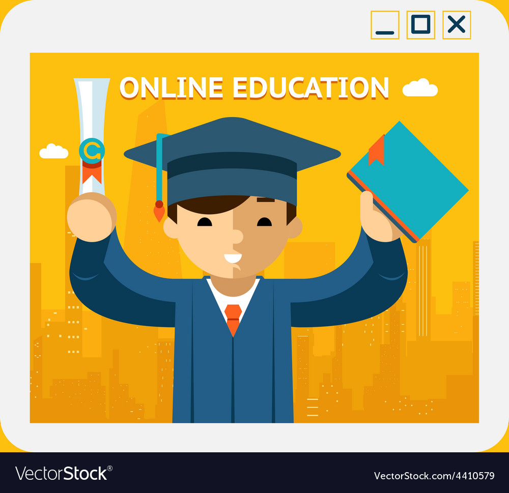 Online education graduate in gown and hat into vector | Price: 1 Credit (USD $1)