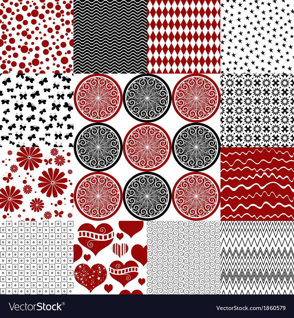 Set seamless monochrome patterns vector | Price: 1 Credit (USD $1)