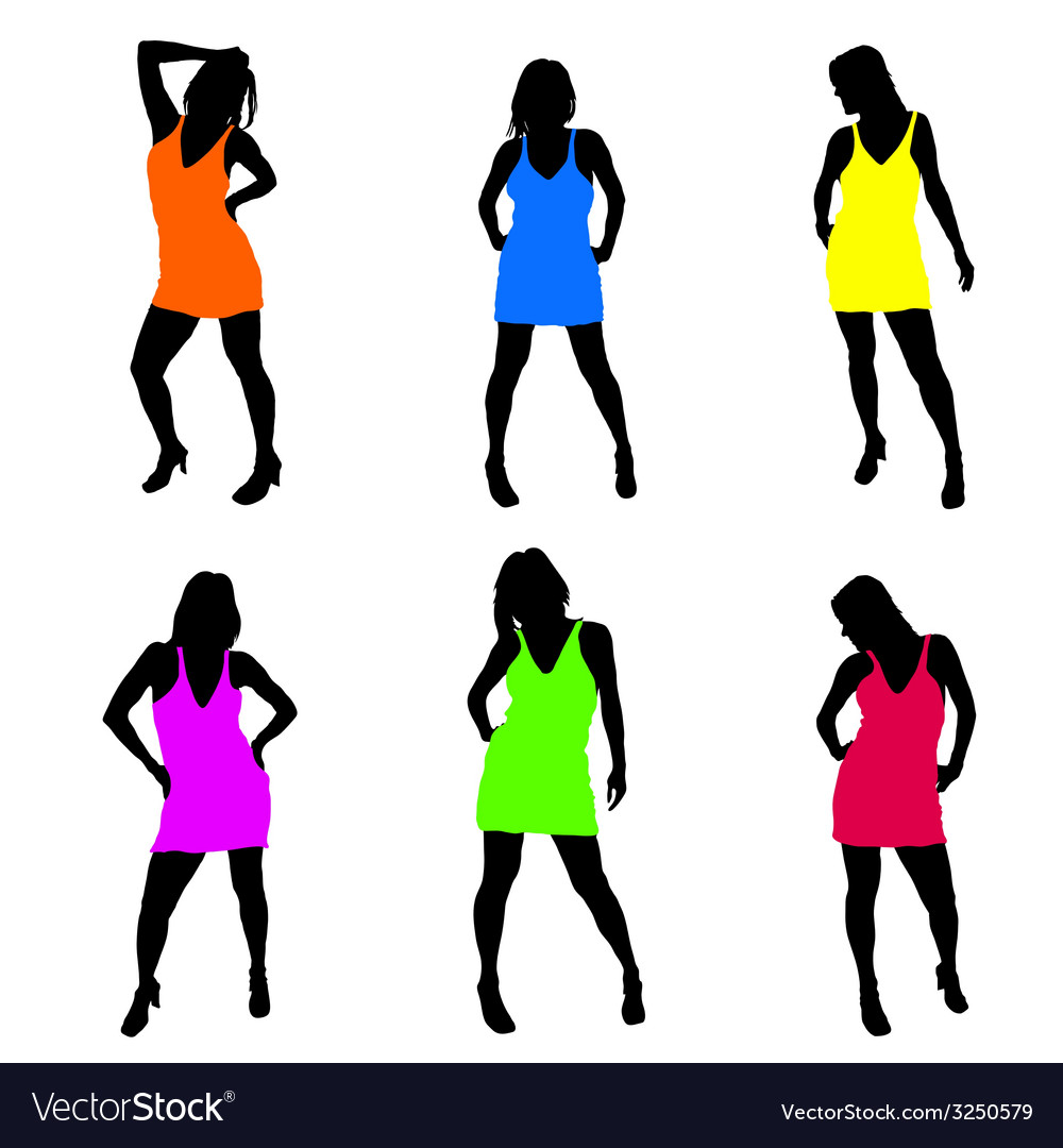 Sexy girl in dress part two vector | Price: 1 Credit (USD $1)