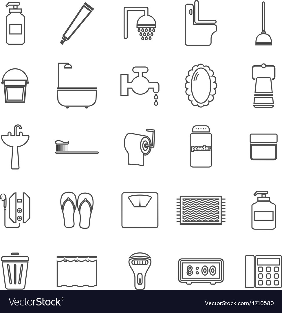Bathroom line icons on white background vector | Price: 1 Credit (USD $1)