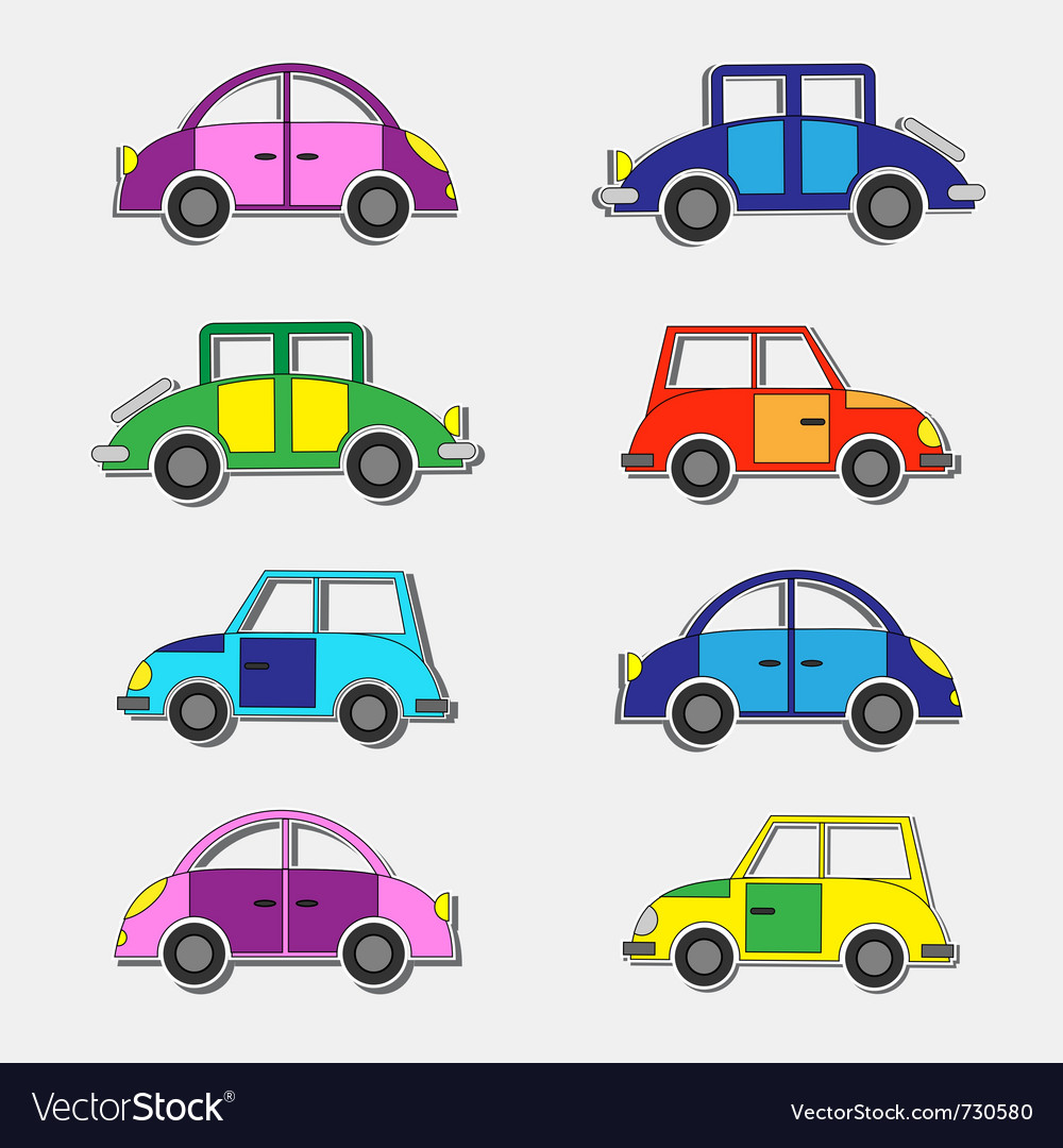 Colorful retro cars stickers vector | Price: 1 Credit (USD $1)