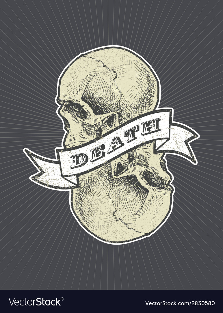 Death sign with ribbon and skull eps8 vector | Price: 1 Credit (USD $1)