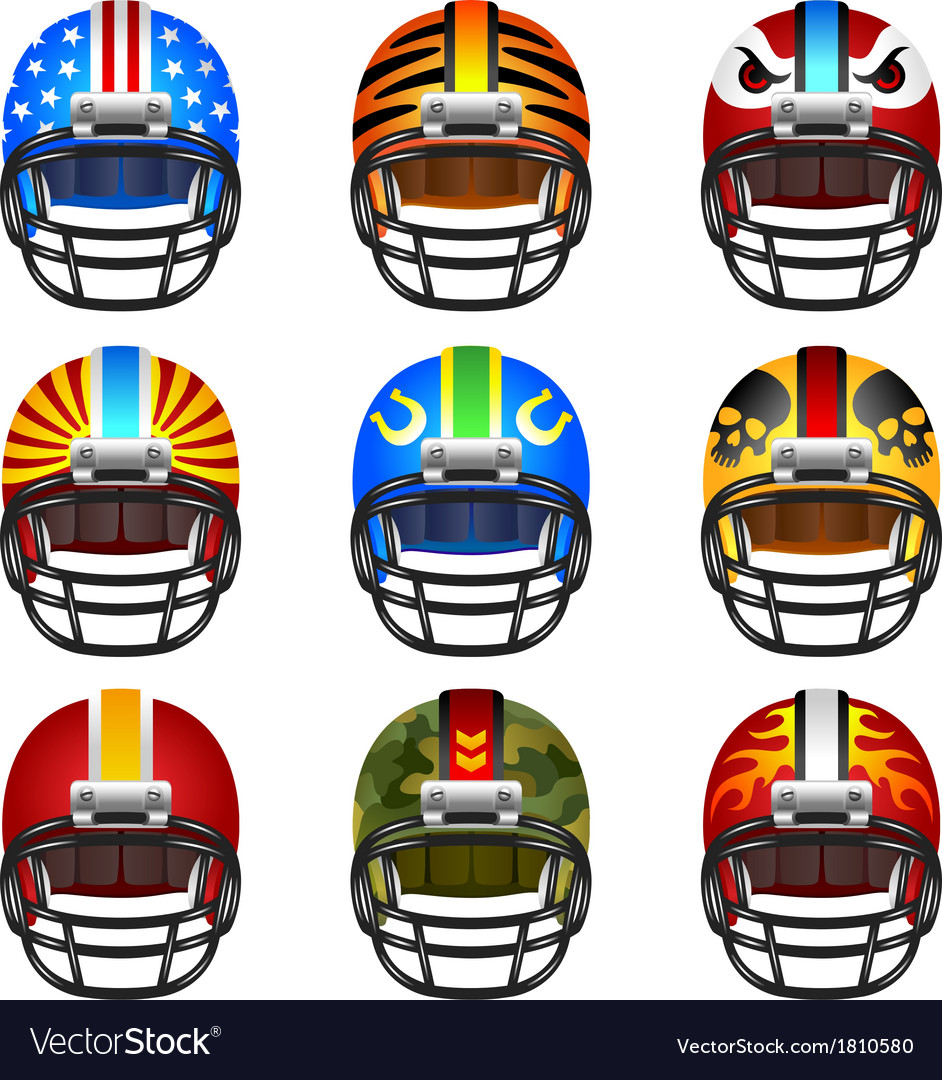 Football helmet set vector | Price: 1 Credit (USD $1)
