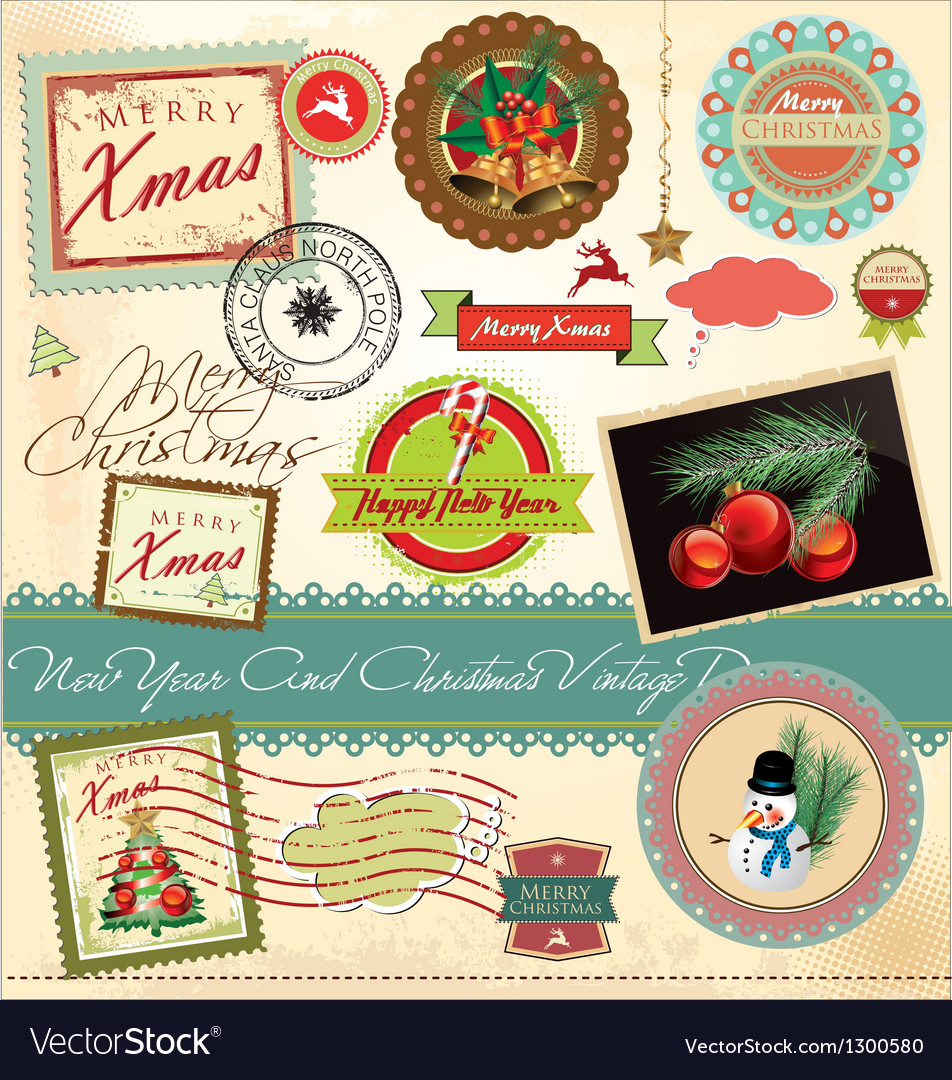 New year and christmas vintage design vector | Price: 3 Credit (USD $3)