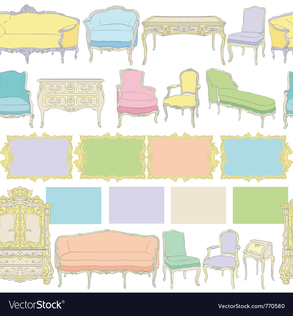 Rococo furniture vector | Price: 1 Credit (USD $1)