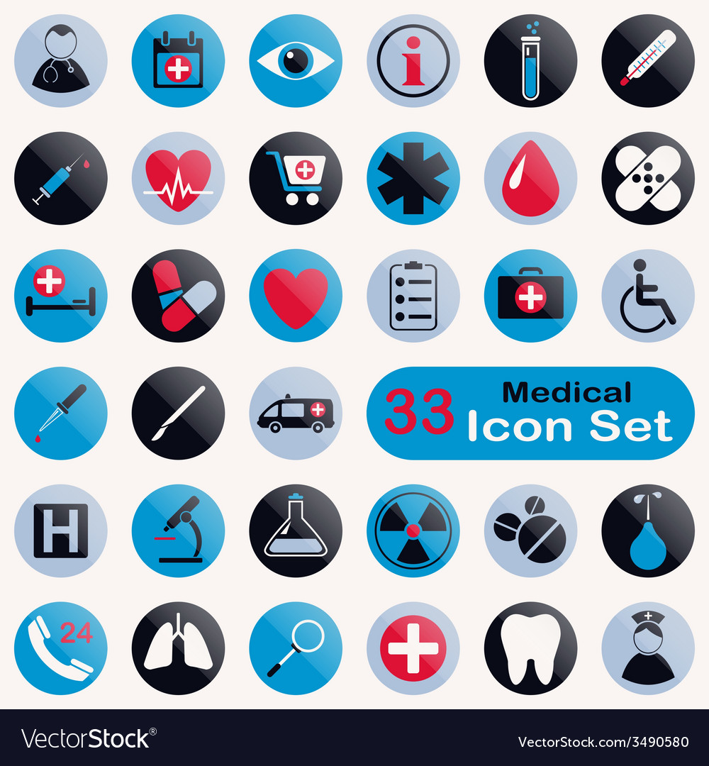 Set of round medical icons vector | Price: 1 Credit (USD $1)