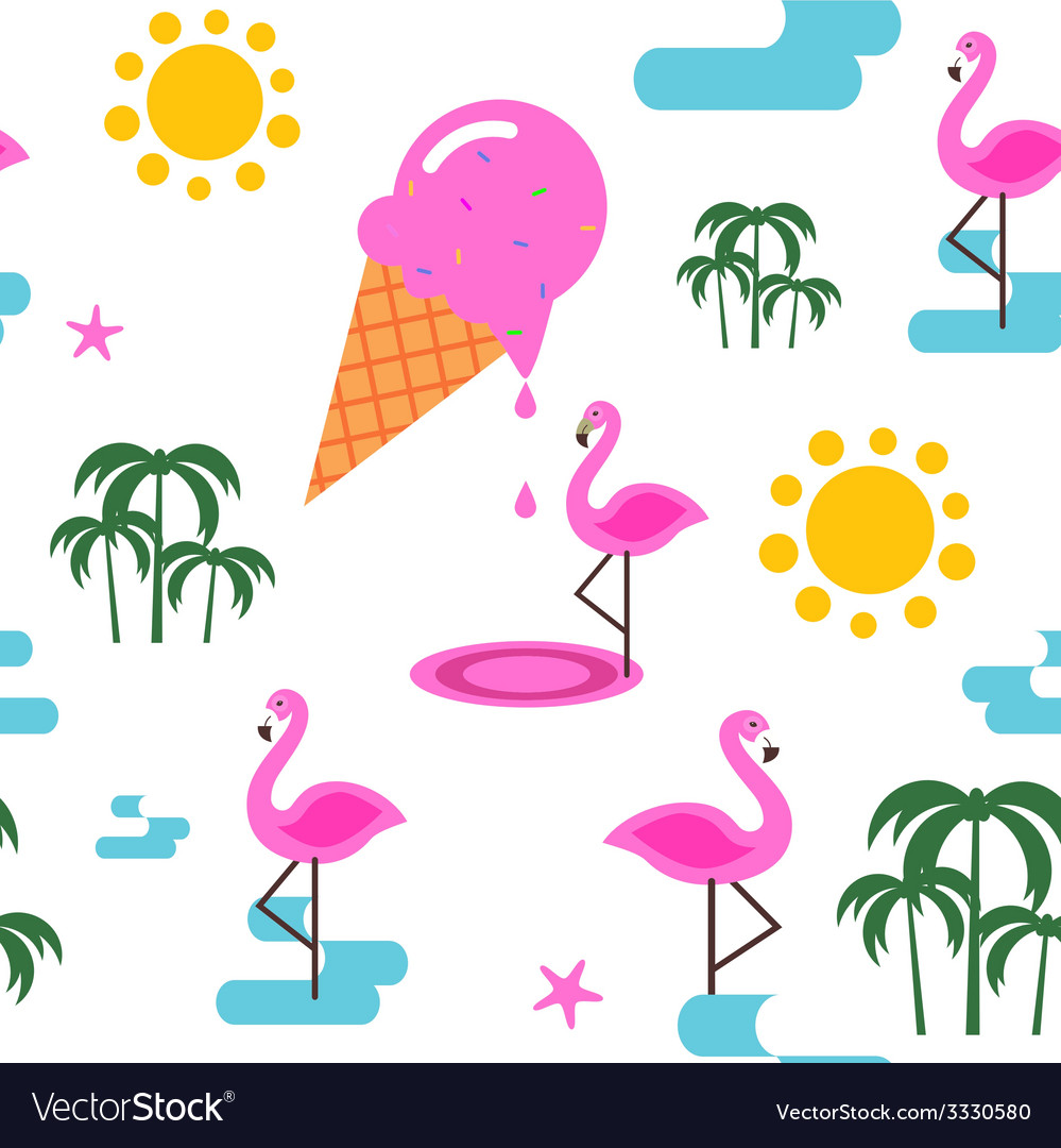 Summer seamless pattern with flamingo and ice vector | Price: 1 Credit (USD $1)
