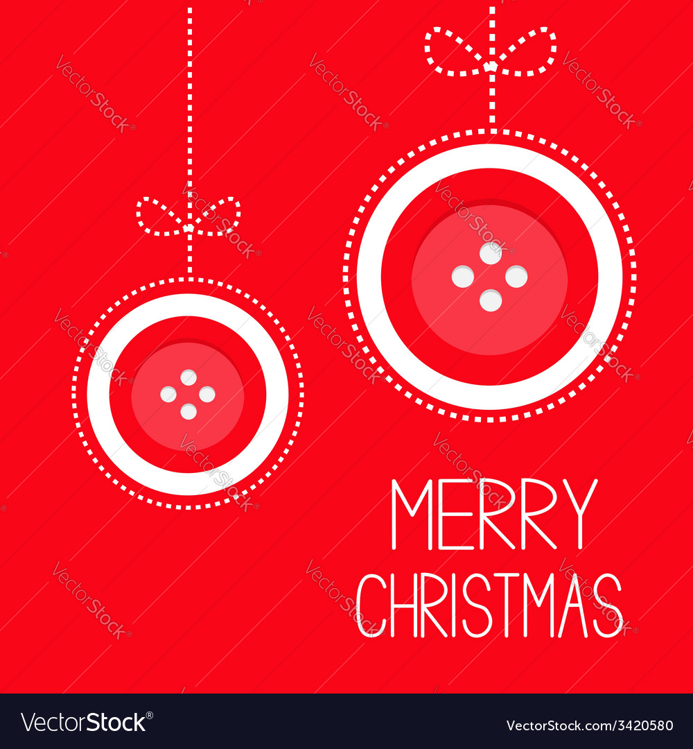 Two hanging red button merry christmas ball vector | Price: 1 Credit (USD $1)