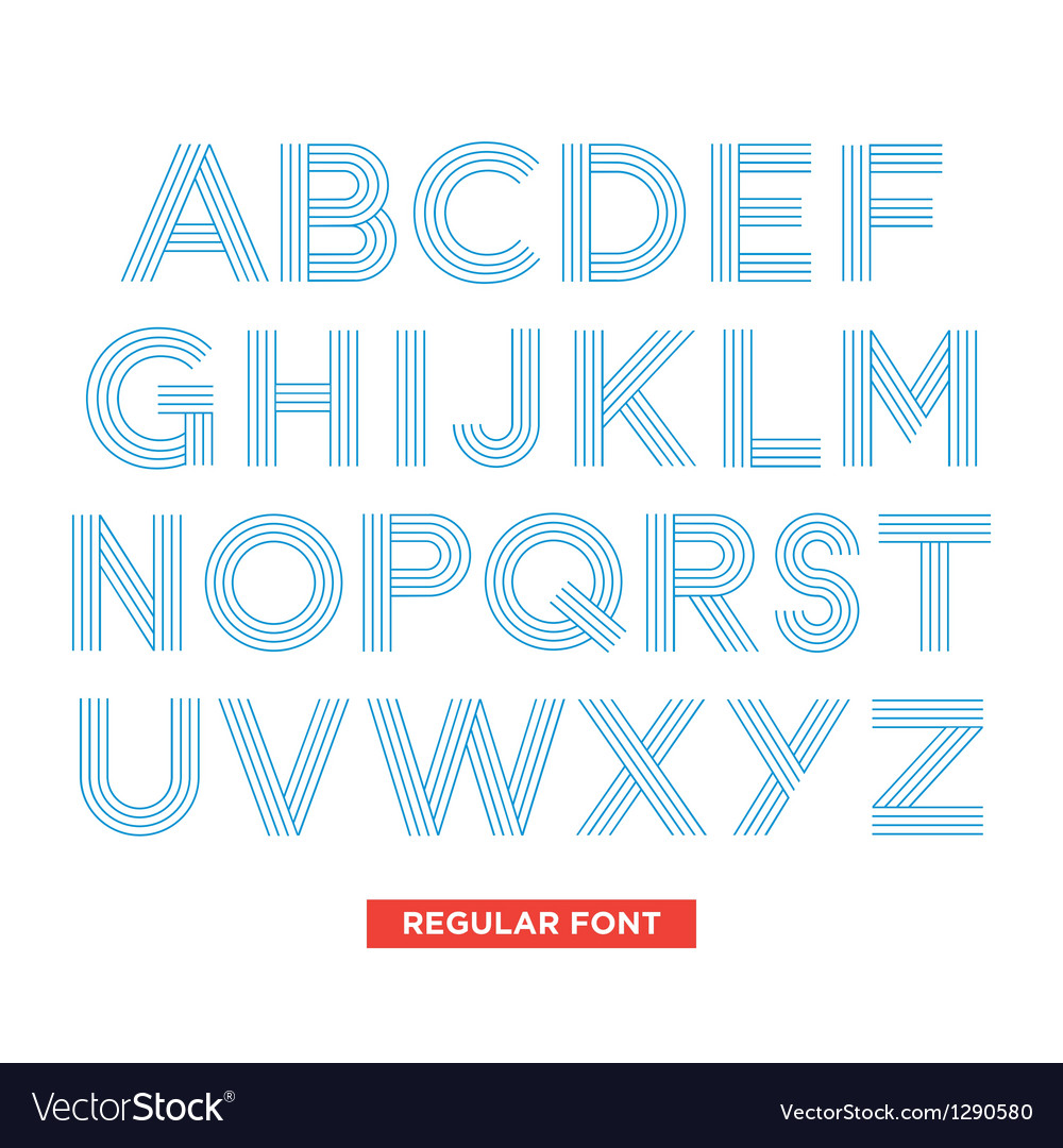 Type font stripes retro vintage vector | Price: 1 Credit (USD $1)