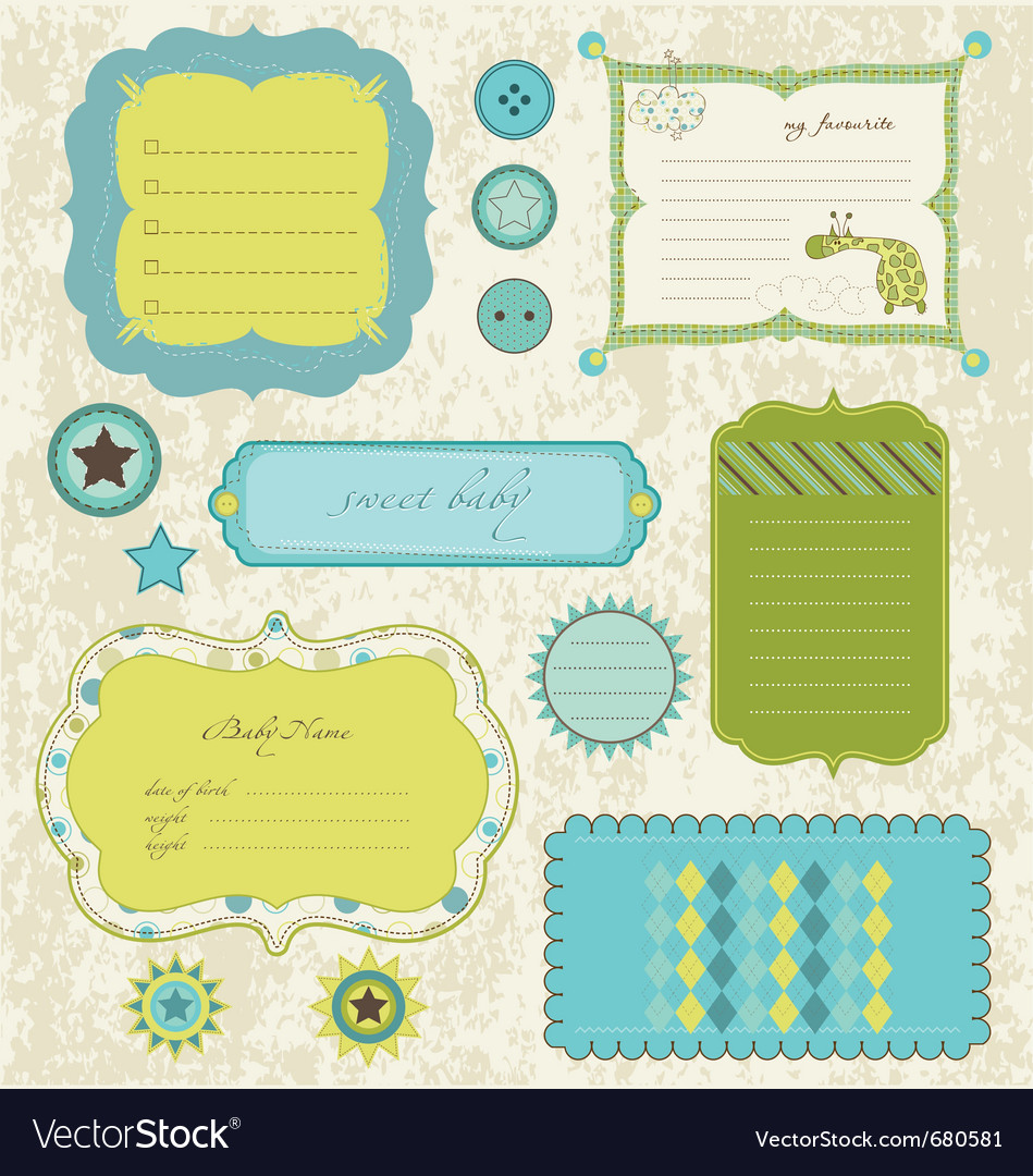 Baby scrapbook elements vector | Price: 1 Credit (USD $1)