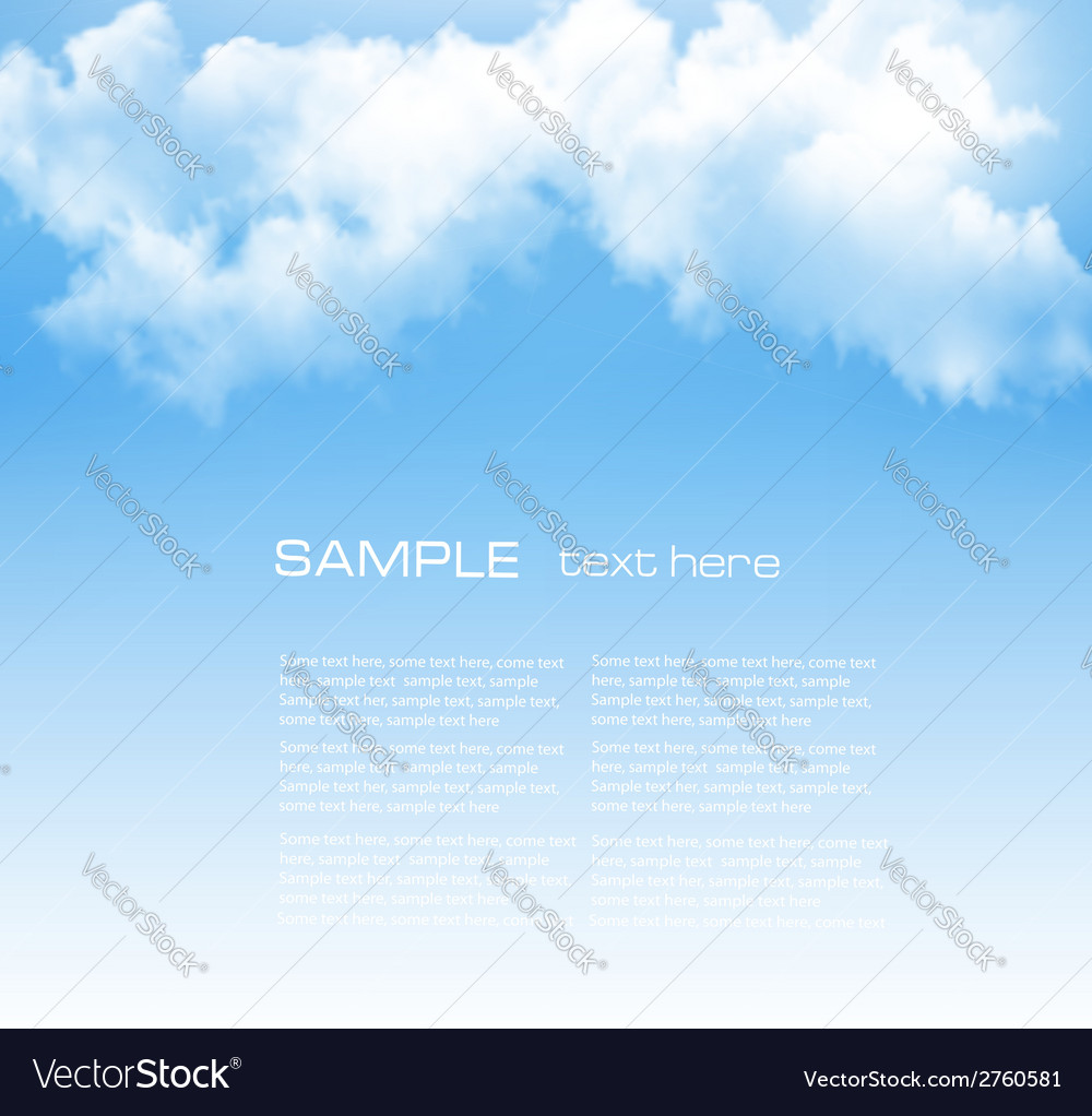 Background with a cloudy blue sky vector | Price: 1 Credit (USD $1)