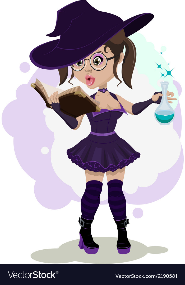 Beautiful witch cooks a potion vector | Price: 1 Credit (USD $1)