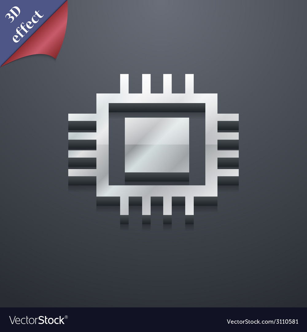 Central processing unit icon symbol 3d style vector | Price: 1 Credit (USD $1)