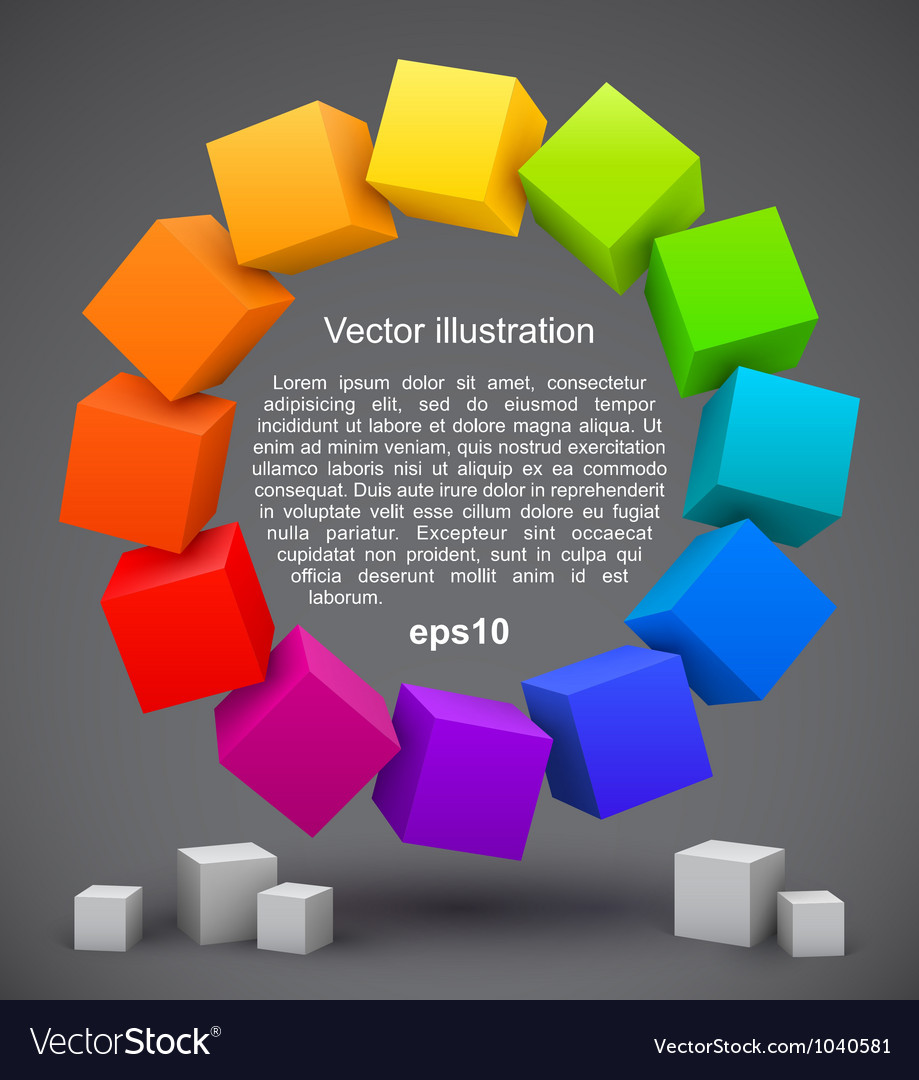 Colored cubes 3d vector | Price: 1 Credit (USD $1)