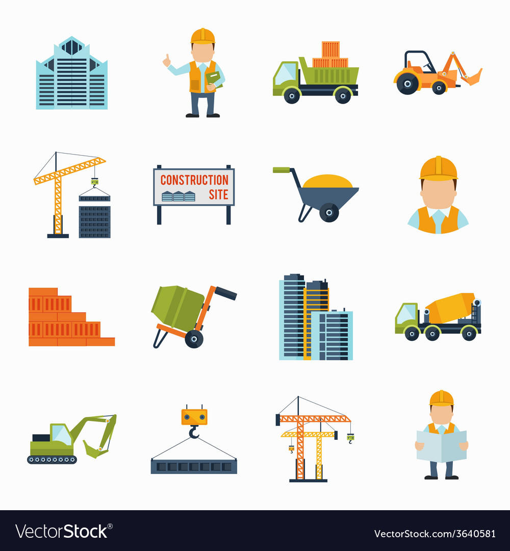 Construction icons flat vector | Price: 1 Credit (USD $1)