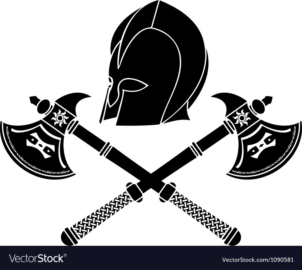 Fantasy barbarian helmet with axes stencil vector | Price: 1 Credit (USD $1)