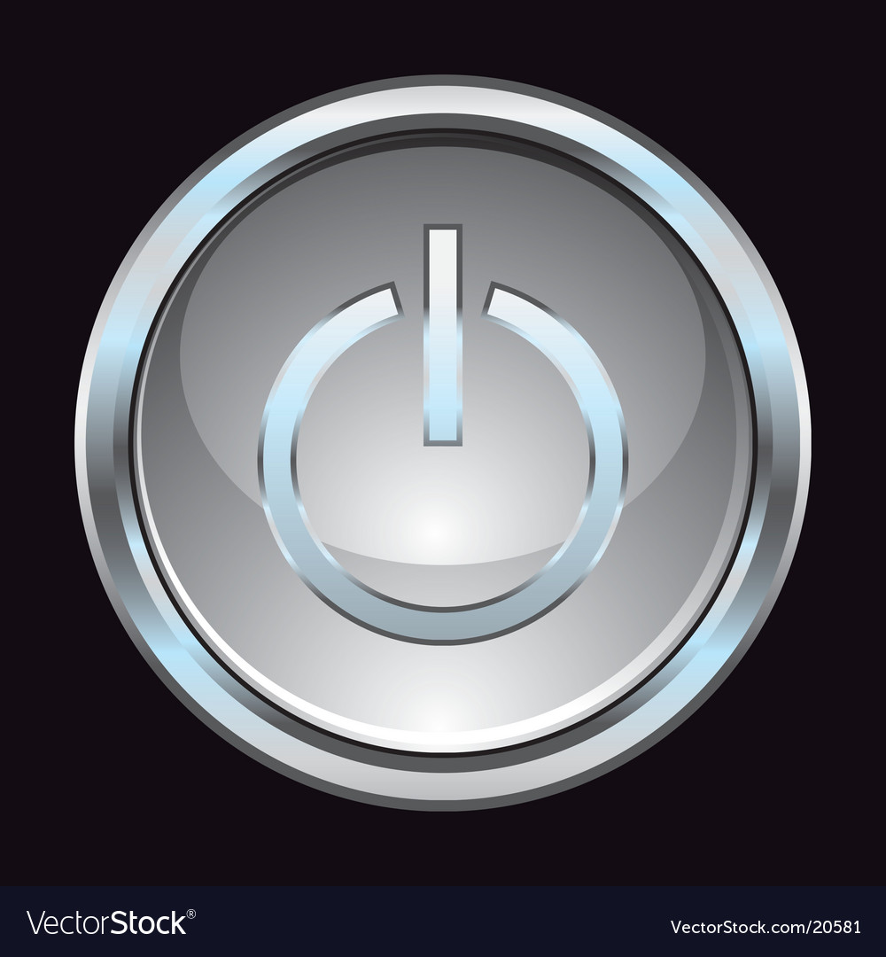 Glass chrome power switch button vector | Price: 1 Credit (USD $1)